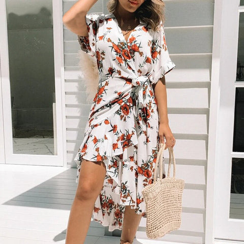 Women's Floral Print V-Neck Summer Dress