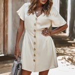 Women's Buttons Dress Short Sleeve Summer Dresses