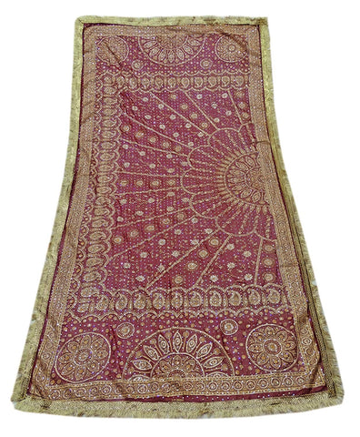 Vintage Indian Women Maroon Georgette Blend Wedding Scarves Dupatta