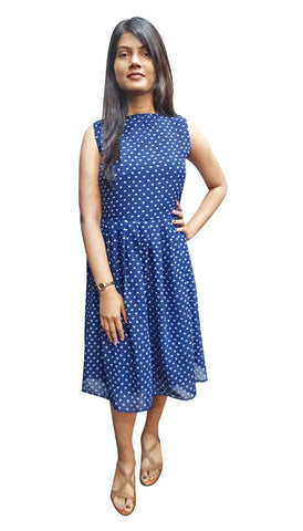 Blue Georgette Short Skater Dress for Women Midi Anchor Print Round Neck Sleeveless Outfit