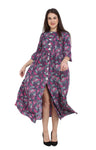 Women's Blue Tassel Floral Dress