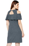Women's Casual Solid Mini Ruffle Dress