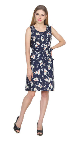 Women's Floral A-Line Sleeveless Dress