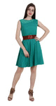 Women's Crepe A-Line Midi Sleeveless Dress