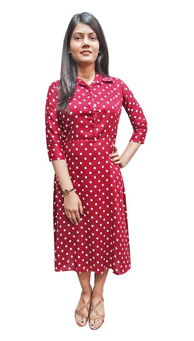 Polka Dot Midi Maroon Dress Rayon A-Line Summer Dress