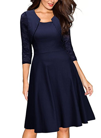 Women's Vintage Style Lace Sleeve Cocktail Dress