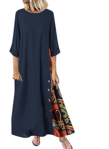 Casual Maxi Dresses 3/4 Sleeves Plus Size Dress