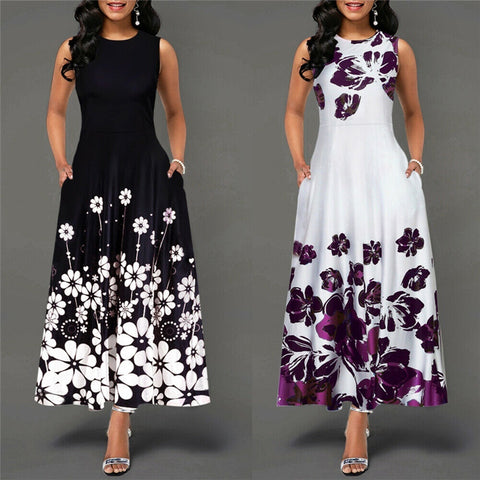 Sleeveless O Neck Floral Print Women Dress