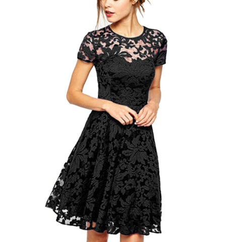 Women Lace Short Sleeve Party Dress