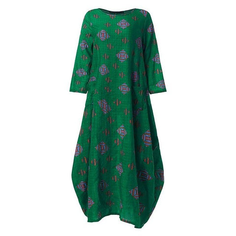 Women Long Maxi Dress Floral Printed Tunic