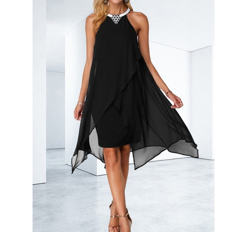 Women's Halter Neck Sleeveless Solid Dresses
