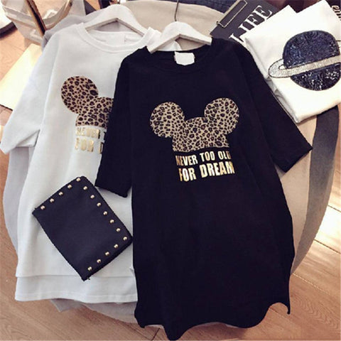 Minnie Mickey Leopard Cartoon Short Dress