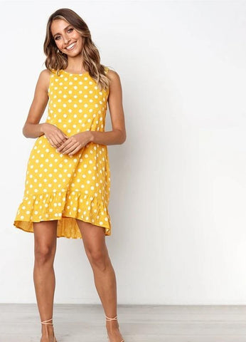 Polka Dot Women's Sleeveless Casual Dress
