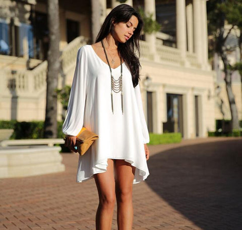 Oversized Tunic Women's V-Neck Chiffon Asymmetric Mini Dress