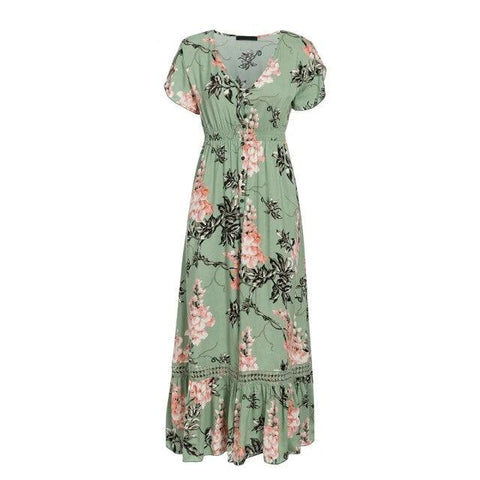 Women Floral Maxi Split Dress