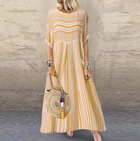 Casual Striped Short Sleeve O-Neck Ladies Pocket Maxi Dress