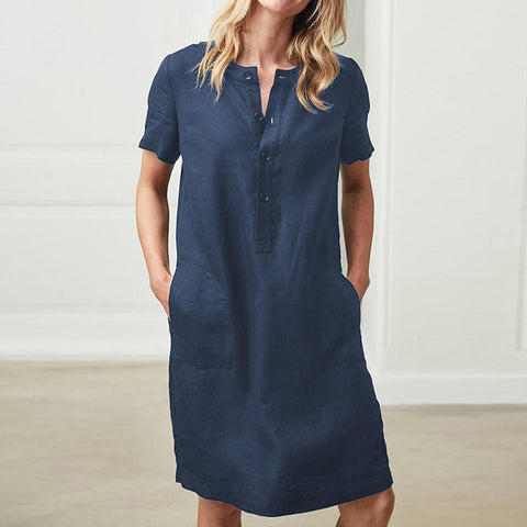 Women's Short Sleeve Pocket Midi Dress