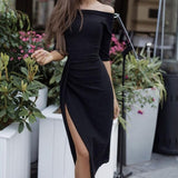 Women's Off Shoulder Party Peplum Dress