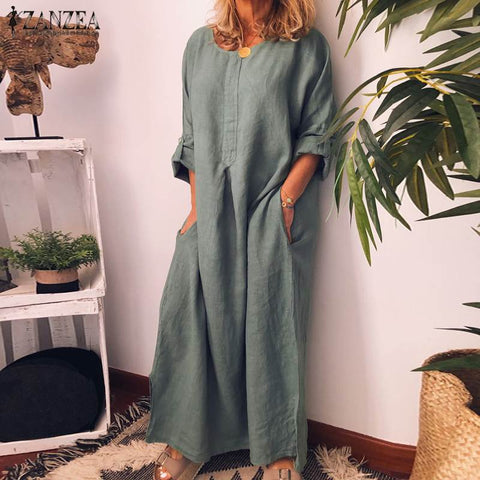 Women Long Sleeve Solid Dress Cotton Linen Maxi