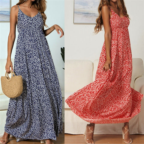 Sleeveless Boho Dress Holiday V Neck Maxi