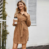 Women Belted Shirt Dress Button Front Short Dresses