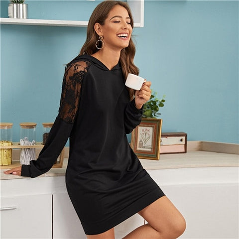 Casual Hooded Sweatshirt Short Dress