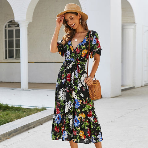 Boho Floral Print Dress Midi Beach Dresses