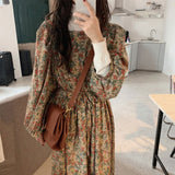 Vintage Style Collar Puff Sleeve Floral Dress