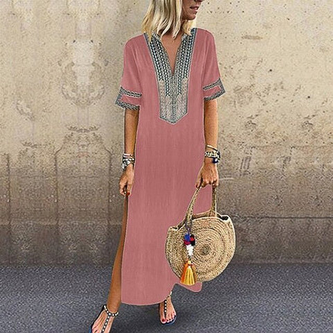 Women Summer Solid Sundress Maxi Long Dress