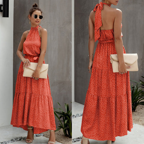 Women Polka Dot Boho Maxi Dress