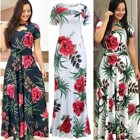 Summer Long Dress Floral Print Boho Maxi