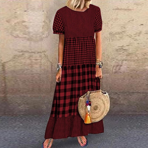 Women's Maxi Checked Dress