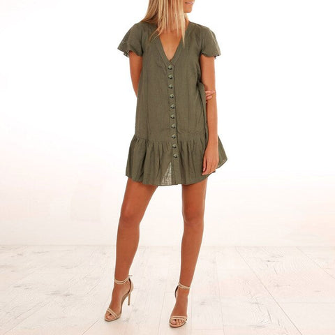 Women's Solid Button Top Mini Dress