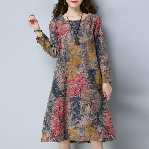 Women Printed Midi Pocket Dress