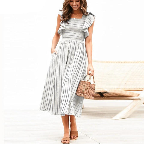 Women Vintage Style Striped Midi Dress