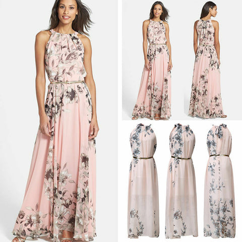 Chiffon Sleeveless Long Dress