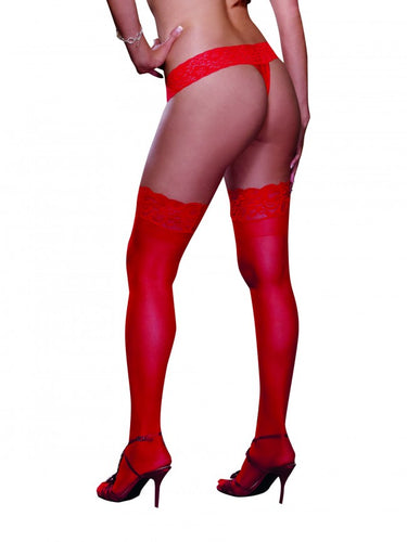 Red Lace Top Silicone Sheer Stocking