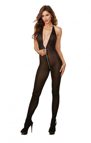 Black Bodystocking with Front to Back Zipper
