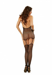 Black Art Deco Lace Halter Bodystocking