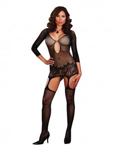 Plus Size Black Fishnet Bodystocking