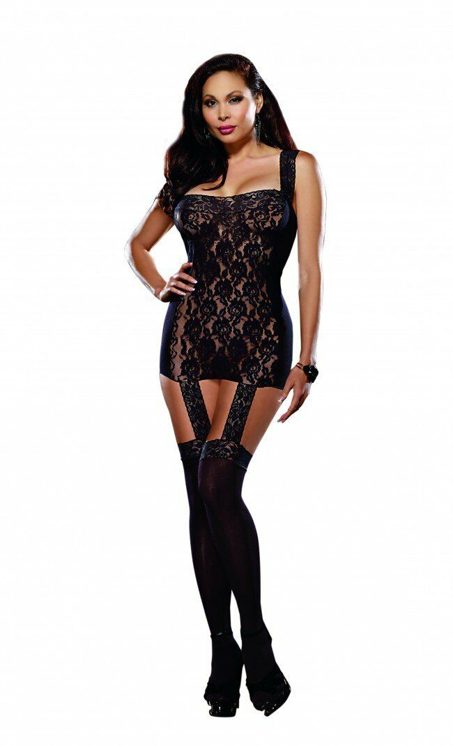 Plus Size Black Sheer and Lace Bodystocking