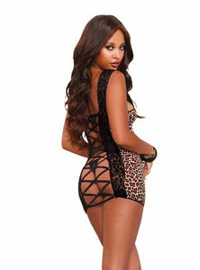 Leopard Print Stretch Mesh Sexy Chemise