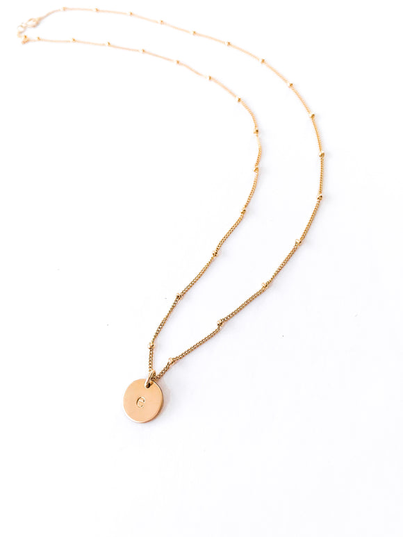 Gold Satellite Disc Necklace