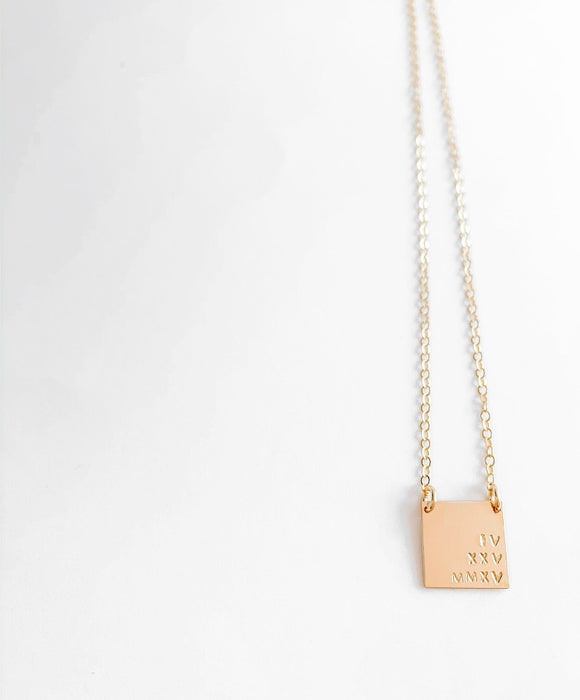 Gold filled square necklace