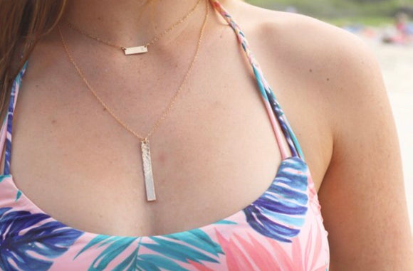 Gold Vertical Hammered Necklace