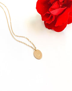 Gold filled oval charm necklace