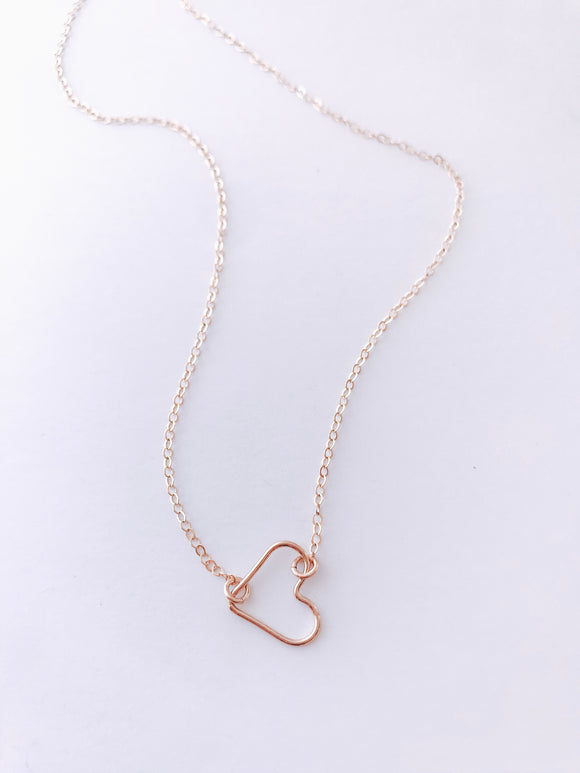 Gold Wire Heart Necklace