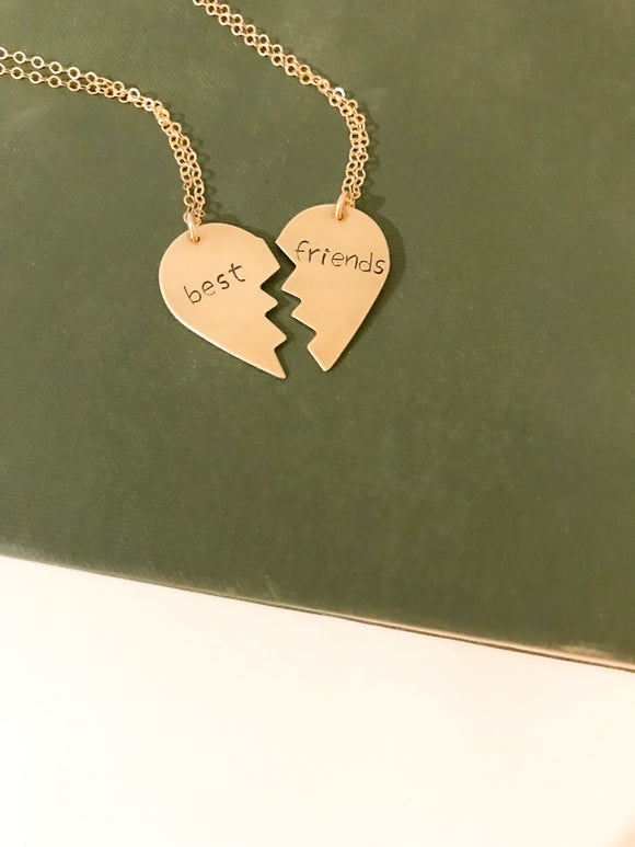 Gold Split Heart Necklace