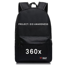 Load image into Gallery viewer, Black 360x BackPack - White Print -