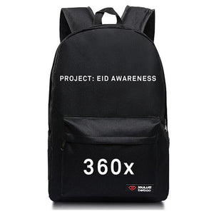 Black 360x BackPack - White Print -